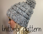 Knit Hat Pattern - Women's Hat -  Pom Pom Hat- Chunky Hat - Slouchy Hat - Ribbed