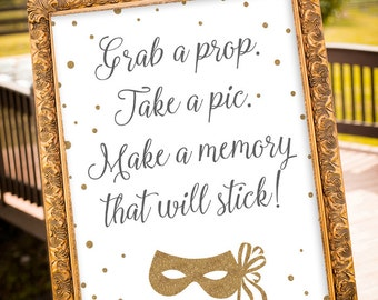 PRINTABLE - Grab a Prop Sign, Wedding Photo Booth Props, Photo Booth Sign, Gold Wedding Decor, Silver & Gold Decor, Large Wedding Sign