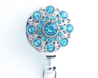 Turquoise Blue Rhinestone Badge Reel - Retractable Badge Holder 216