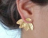 Ear Jackets Gold, Ear Jackets, Two in One Ear Jackets, Ear Climbers, Leaf Ear Climbers, Gold Stud Earrings, Gold Studs, Gold Plated Silver