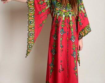 Vintage 1970s Dashiki Dress - Hot Magenta Pink Wing Angel Sleeve Tribal Festival Floor Length Dress - Medium Large
