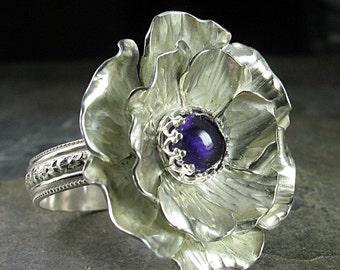 Sterling Silver Rose ring statement ring cocktail ring handmade metalsmith - Old World Rose Garden Ring