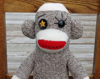 One of a Kind Sock Monkey Doll handmade with Rockford Red Heel Socks