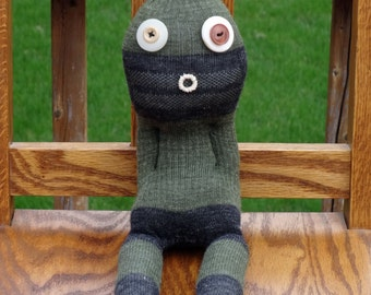 Weird Sock Monster Doll - Oliver- Handmade One of a Kind Sock Creature