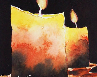 Original Watercolor Painting of Candles Still Life ACEO