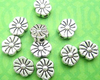 10 Flower Beads, Metal Beads, Silver Plated, Coin Beads, 8mm Beads, 8mm Spacer Beads, Spacer Beads, Silver Beads, DIY Jewelry - TS242B