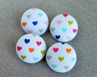 fabric covered shank buttons in heart print cotton fabric  - made in the USA