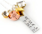 Custom Coordinates Necklace - Home is Where the Heart Is Cluster Necklace - in mixed metals - Personalized Latitude & Longitude