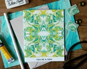 You're a Gem Tiled Chartreuse and Emerald Marble Greeting Card / Marble Pattern IV