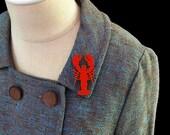 Lobster Brooch / Pin - Laser Cut Acrylic (C.A.B. Fayre Original Design)