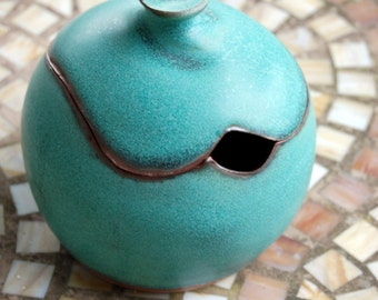 Sugar Bowl / Honey Jar in Turquoise- Made to Order