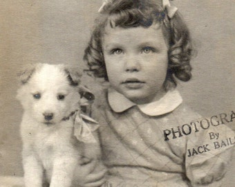 Toddler with Shirley Temple Curls and Terrier Puppy - Black and White Photograph
