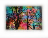 Cotton candy sunrise, 11x17 inches, mixed media photograph, Original art, nature photography, trees, colorful trees, winter trees