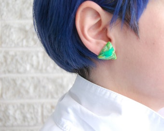 Marbled acid green / cosmic / triangle studs / pyramids / triangles / resin /grunge / futurist / sci-fi