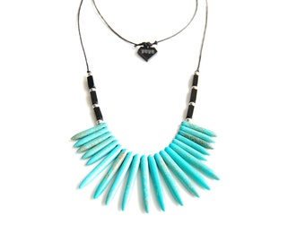 Turquoise howlite spike necklace / hermanite / minimalist / wax cotton rope / statement necklace / hand made