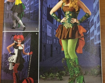 Harley Quinn Poison Ivy Sewing Pattern Simplicity 1091 Sizes 14-16-18-20-22 Costume Suicide Squad