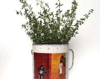 Retablo Folk Art - Proceeds Benefit Animal Rescue, UpCycled Can, Plant Holder, Organizer, Rustic Home Decor, Urban Decor, Multipurpose Can