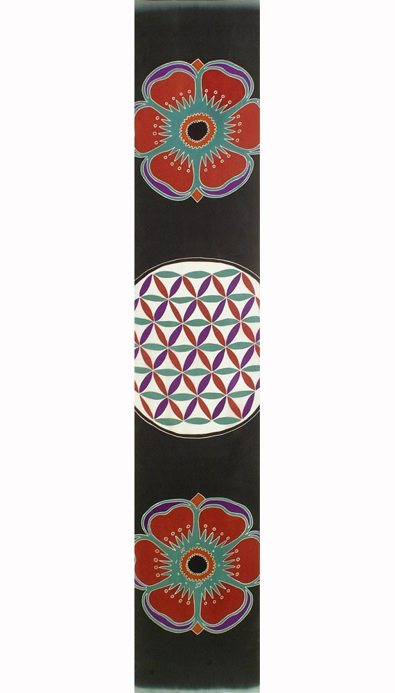 Flower of Life scarf, Colorful Mandala, flower of life design, sacred geometry mandala, Floral print scarf, mandala scarf, unique scarf