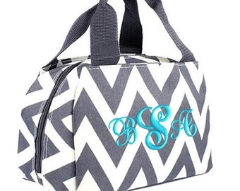 Personalized Lunch Bag Gray Chevron Insulated Monogrammed School