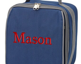 Boys Personalized Lunch Bag Navy Blue Gray  Monogrammed School Snack Box Cooler