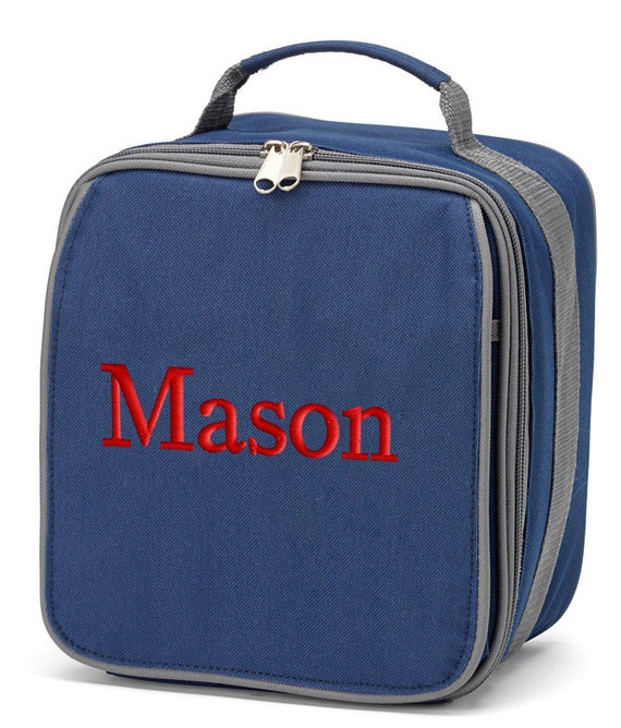 Boys Personalized Lunch Bag Navy Blue Gray Monogrammed School Snack ...