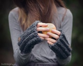 Charcoal Grey Fingerless Gloves, Gloves, Arm Warmers