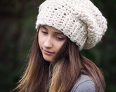 Cream Slouchy Hat, Winter Hat