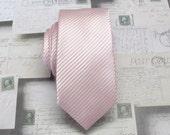 Pink Tie Mens Tie Pale Pink Stripes Skinny Necktie With Matching Pocket Squrae