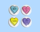 bitter sweet candy heart 1 inch pins | 4 colors to choose from