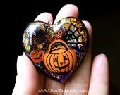 Halloween Jewelry, Spooky Pendant Necklace, Trick or Treat Pumpkin, Spider Necklace, Orange Black Spooky Statement Necklace by isewcute