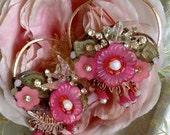 Lilygrace Pink Flower Hoop Earrings with Vintage Rhinestones