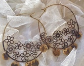 Lilygrace Large Filigree Hoop Earrings with Brass Discs