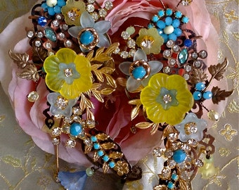 Lilygrace Miriam Haskell Style Blue Yellow Earrings with Brass Filigrees,  Lucite Flowers, Glass beads and  Vintage Rhinestones