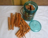 30 Vintage Wooden Clothespins and Blue Mason Jar, Clothes Pins, Farmhouse, Bunting, Craft Supplies