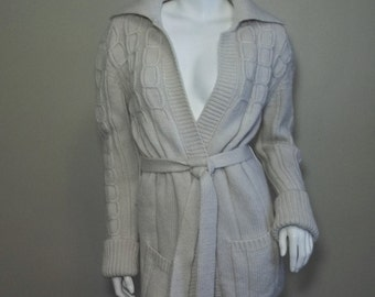 Vintage 70's Belted Boho Cable Knit Wool Cardigan Sweater S