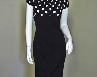 1950's Style Polka Dot Peasant Pinup Rockabilly Wiggle Dress S
