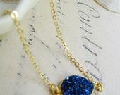 Sapphire Druzy Necklace, Petite Gold Druzy Necklace, Bohemian necklace, Simple, Modern Necklace, Gardendiva