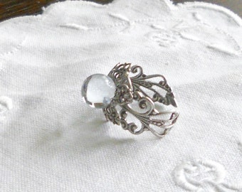 oSO BUBBLE OSo adjustable glass filigree silver medieval ring
