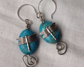 oO NYMPH Oo turquoise magnesite silver dragonfly earrings