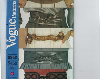 1980s Vintage Accessories Sewing Pattern Vogue 8252 Misses Wrap Tie Belt Retro 80s UNCUT  99