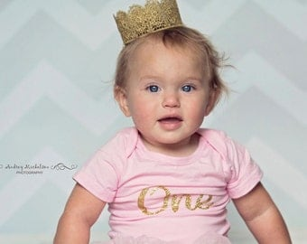 Gold Lace Crown, Gold Crown, Baby Headband, Crown Headband, 1st Birthday Outfit Crown, First Birthday Outfit Crown, Baby Girl Princess Crown