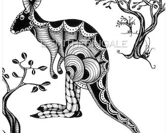 Zentangle-Inpired Kangaroo Print - Unmatted