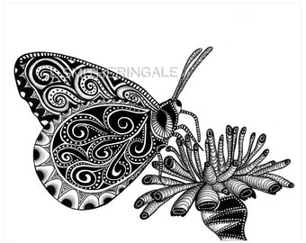 Zentangle-Inpired Butterfly Print - Unmatted