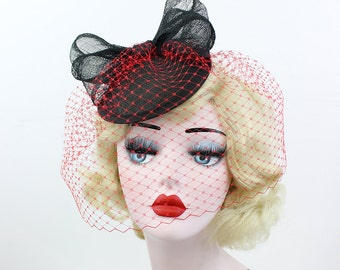 Black Cocktail Hat with Red Birdcage Veil - Sinamay Fascinator - Bow Headpiece - Women's Hair Accessory - Pin Up Style - Unique Bridal