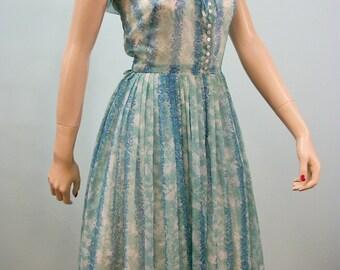 Vintage 50s Full Skirt Dress . Aqua & Blue Sheer Nelly Don Dress . M L