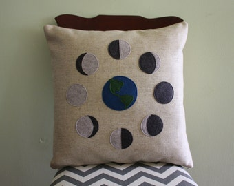 Science Diagram Pillow - Phases of the Moon // Harvest Moon // Lunar Scientist // Space // Lunar Phase // Cycle // Full Moon // Earth