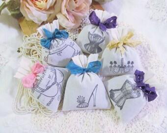 Lingerie Party Favor Mix Lavender Mini Sachet Shower Favor w/ribbons - Set of Six - Choose Ribbon Color - Bridal Bachelorette Party