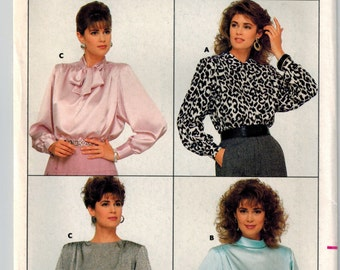 Vintage 80's Blouse Sewing Pattern - Set of Blouses - Butterick 5757 - Bias Collar Top- Tie- Loose Fit- Extended Shoulders- Plus Size 18-22