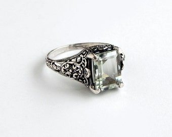 Sterling Prasiolite Ring: Sterling silver, green amethyst ring, size 6.25, filigree ring, antique style, Edwardian, Art Deco