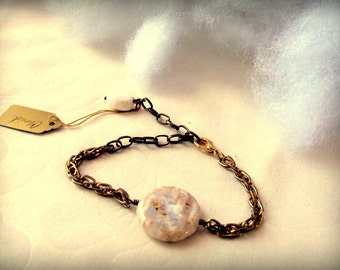 Brass Chain Agate Adjustable Bracelet Cloud Faceted White Stone Dangle